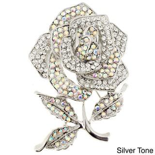 Antiqued Gemstone Rose Pin Brooch