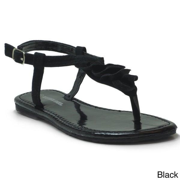 65bd773e9 Shop Blue Girls  K-Pleaty  Pleated T-strap Flat Sandals - Free ...
