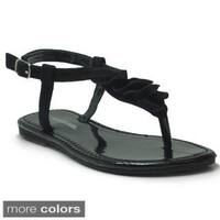 Blue Girls 'K-Pleaty' Pleated T-strap Flat Sandals