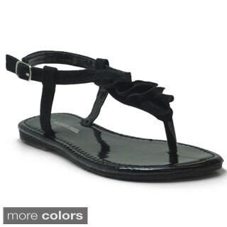 Blue Girls 'K-Pleaty' Pleated T-strap Flat Sandals (Option: Silver)