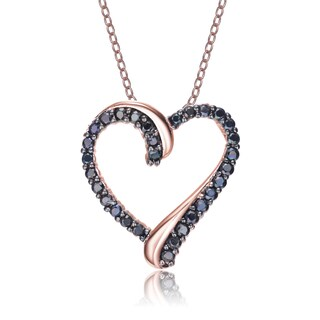 Collette Rose and Black-plated Sterling Silver Cubic Zirconia Double Heart Necklace