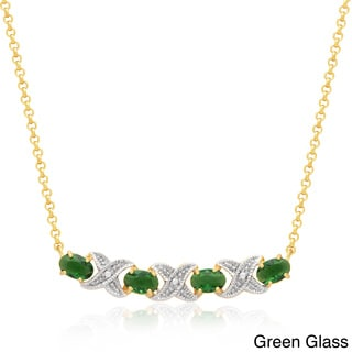 Dolce Giavonna 14k Gold Overlay Simulated Stone XO Necklace