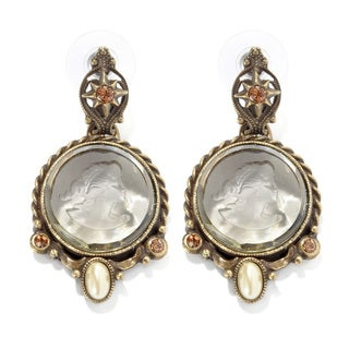 Sweet Romance Intaglio Cameo Pearl Victorian Earrings
