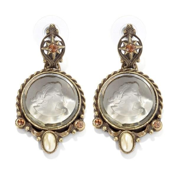 Sweet Romance Intaglio Cameo Pearl Victorian Earrings