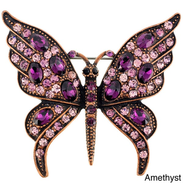 Amethyst Crystal Butterfly Pin Brooch