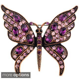 Amethyst Crystal Butterfly Pin Brooch (2 options available)