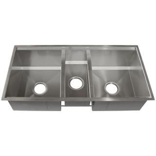Ticor 37-1/2-inch 16-gauge Stainless Steel Triple Bowl Undermount Tight Radius Square Kitchen Sink
