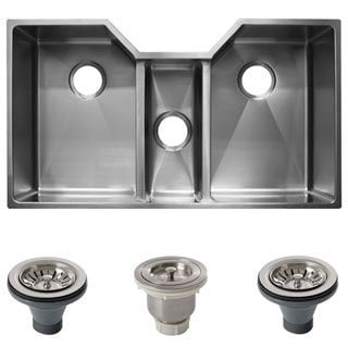 Ticor 36-inch 16 Gauge Stainless Steel Triple Bowl Undermount Tight Radius Square Kitchen Sink