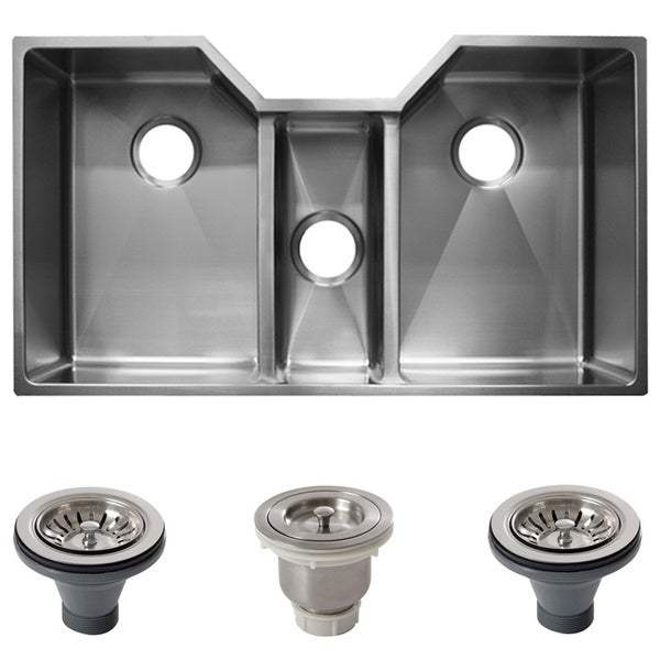 Ticor 36 Inch 16 Gauge Stainless Steel Triple Bowl Undermount Tight Radius  Square Kitchen Sink