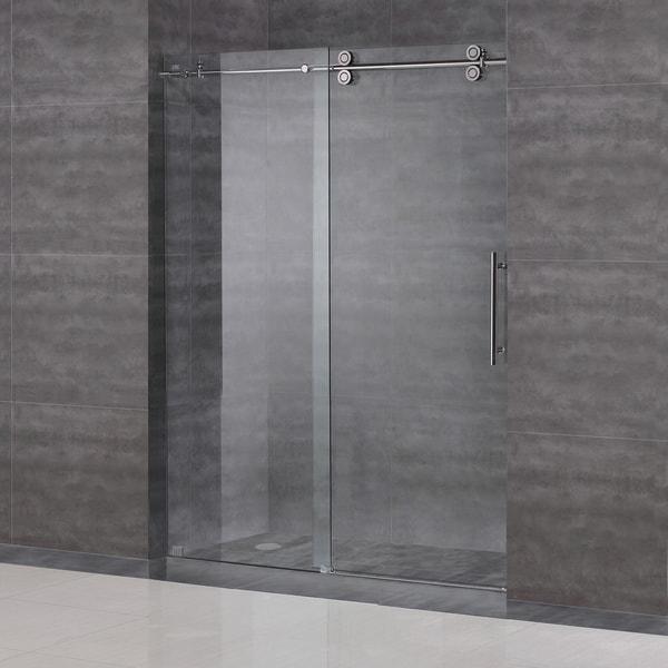 aston langham 60inch completely frameless alcove sliding shower door free shipping today
