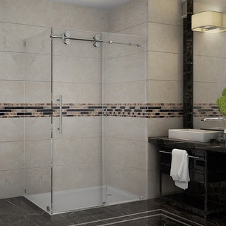 Aston Langham 48-in x 35-in x 75-in Completely Frameless Sliding Shower Enclosure in Chrome
