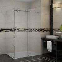 Aston Langham 48-in x 35-in x 75-in Completely Frameless Sliding Shower Enclosure in Chrome
