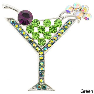 Vintage Style Crystal Martini Glass Pin Brooch