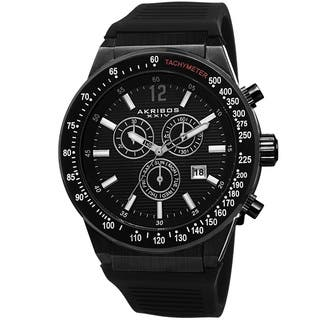 Akribos XIV Men's Swiss Quartz Chronograph Black Strap Watch with FREE GIFT|https://ak1.ostkcdn.com/images/products/8874990/Akribos-XIV-Mens-Swiss-Quartz-Chronograph-Silicone-Strap-Watch-P16099593.jpg?impolicy=medium