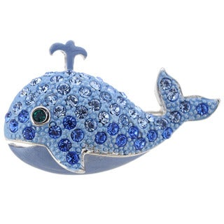 Sapphire Crystal Ocean Whale Brooch