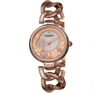 Akribos XXIV Women's Quartz Diamond-Accented Twist Chain Rose-Tone Watch