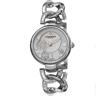 Akribos XXIV Women's Quartz Diamond-Accented Twist Chain Silver-Tone Watch