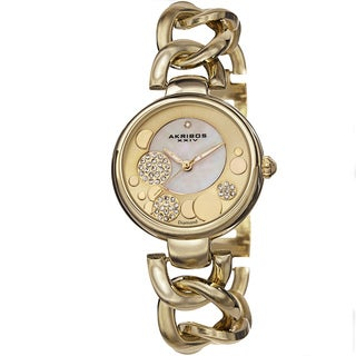 Akribos XXIV Women's Quartz Diamond-Accented Twist Chain Gold-Tone Watch