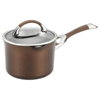 Circulon Symmetry Chocolate 3.5-quart Covered Straining Saucepan