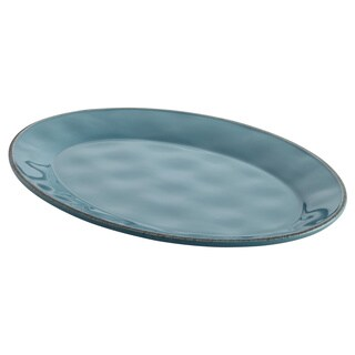 Rachael Ray Cucina Dinnerware 10 x 14-inch Agave Blue Stoneware Oval Platter