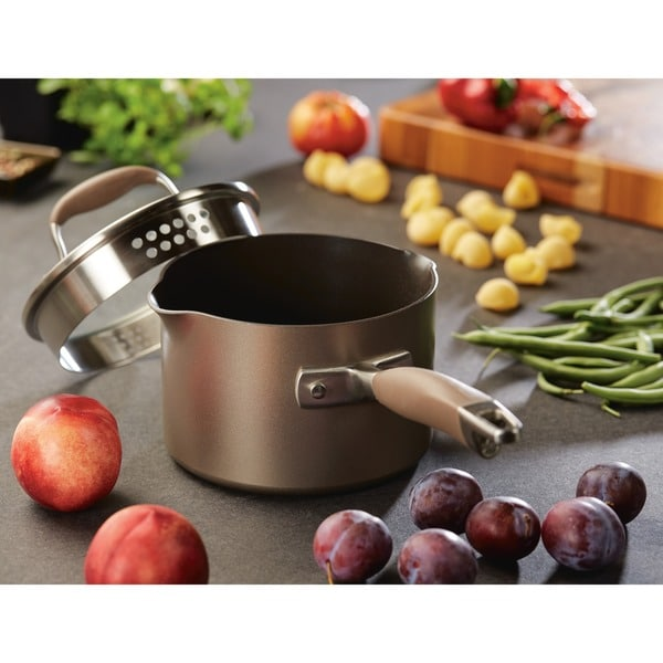 Anolon Advanced Bronze Hard-anodized Nonstick 2-quart Covered Straining Saucepan with Pour Spouts