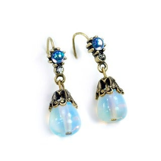 Sweet Romance Opal Moonstone Teardrop Earrings