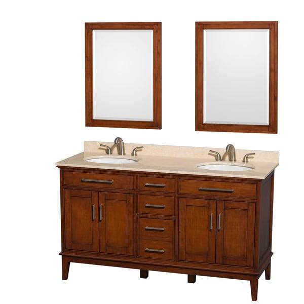 Wyndham Collection Hatton 80 Inch Light Chestnut Double Sink Bathroom
