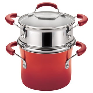 Rachael Ray Hard Enamel Nonstick 3-quart Red Gradient Covered Steamer Set