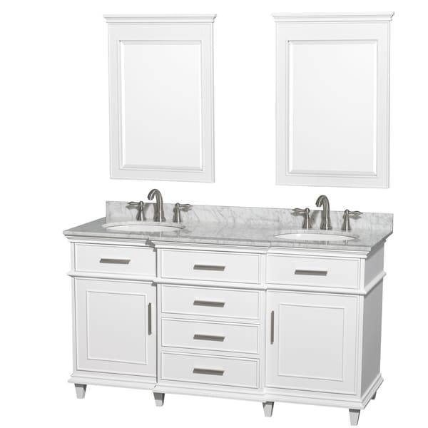 Wyndham Collection Berkeley White 60 Inch Double Vanity