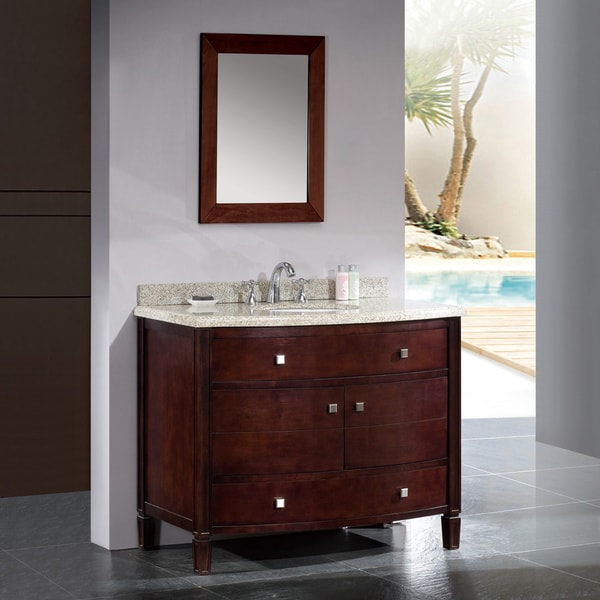OVE Decors Georgia 42 Inch Single Sink Bathroom Vanity With Granite Top