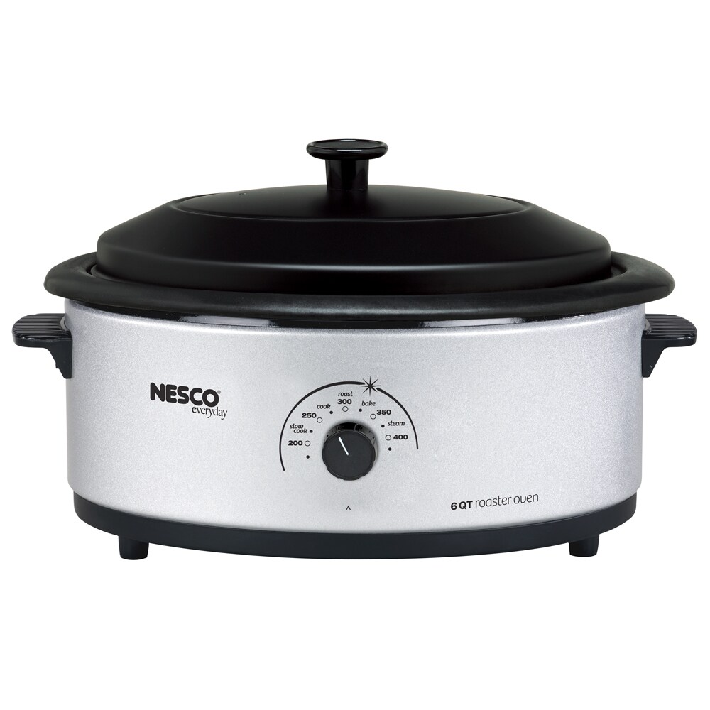 Nesco Silver 6-quart Roaster Oven with Porcelain Lid, Whi...