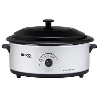 Nesco Silver 6-quart Roaster Oven with Porcelain Lid|https://ak1.ostkcdn.com/images/products/8875209/P16099774.jpg?impolicy=medium