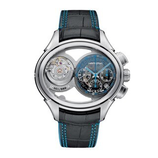 Hamilton Men's 'Jazzmaster Face 2 Face' Chronograph Automatic Skeleton Rotating Dual Dial Black Leather Watch