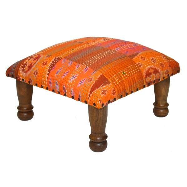 Handmade Orange Kantha Stitched Ikat Footstool India