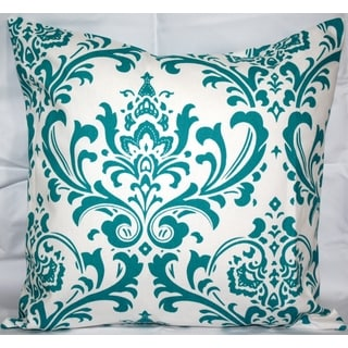 Taylor Marie 18 x 18-inch True Turquoise Damask Pillow Cover