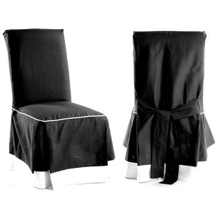 Skirted Two-tone Cotton Dining Chair Slipcovers (Set of 2)
