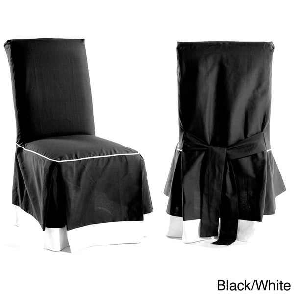 Skirted Two Tone Cotton Dining Chair Slipcovers Set Of 2