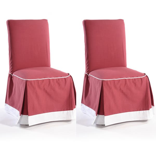 Astonishing Shop Skirted Two Tone Cotton Dining Chair Slipcovers Set Of Machost Co Dining Chair Design Ideas Machostcouk