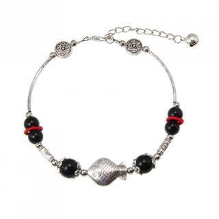Hand-crafted Miao Silver Black Agate Fish Design Anklet (China)