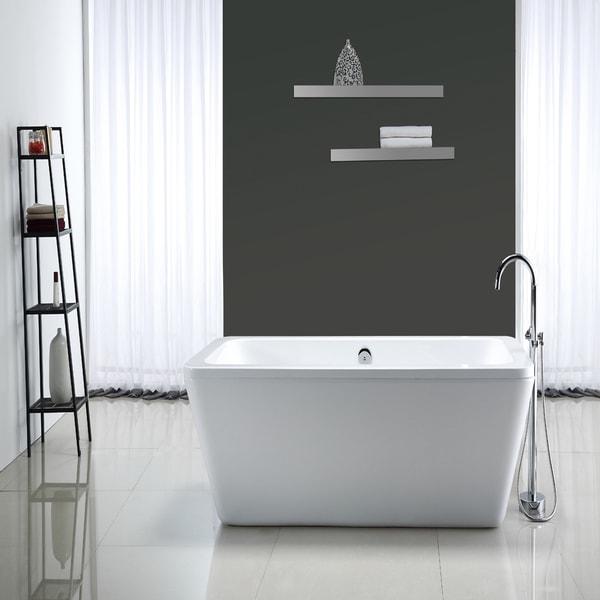OVE Decors Kido Acrylic 69 inch Freestanding Bath Tub Free