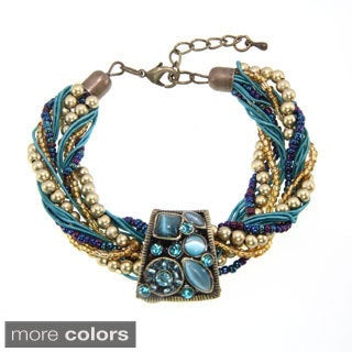 Handmade Multi-strand Braided Cat's Eye Stone Bracelet (China) (Option: Red)