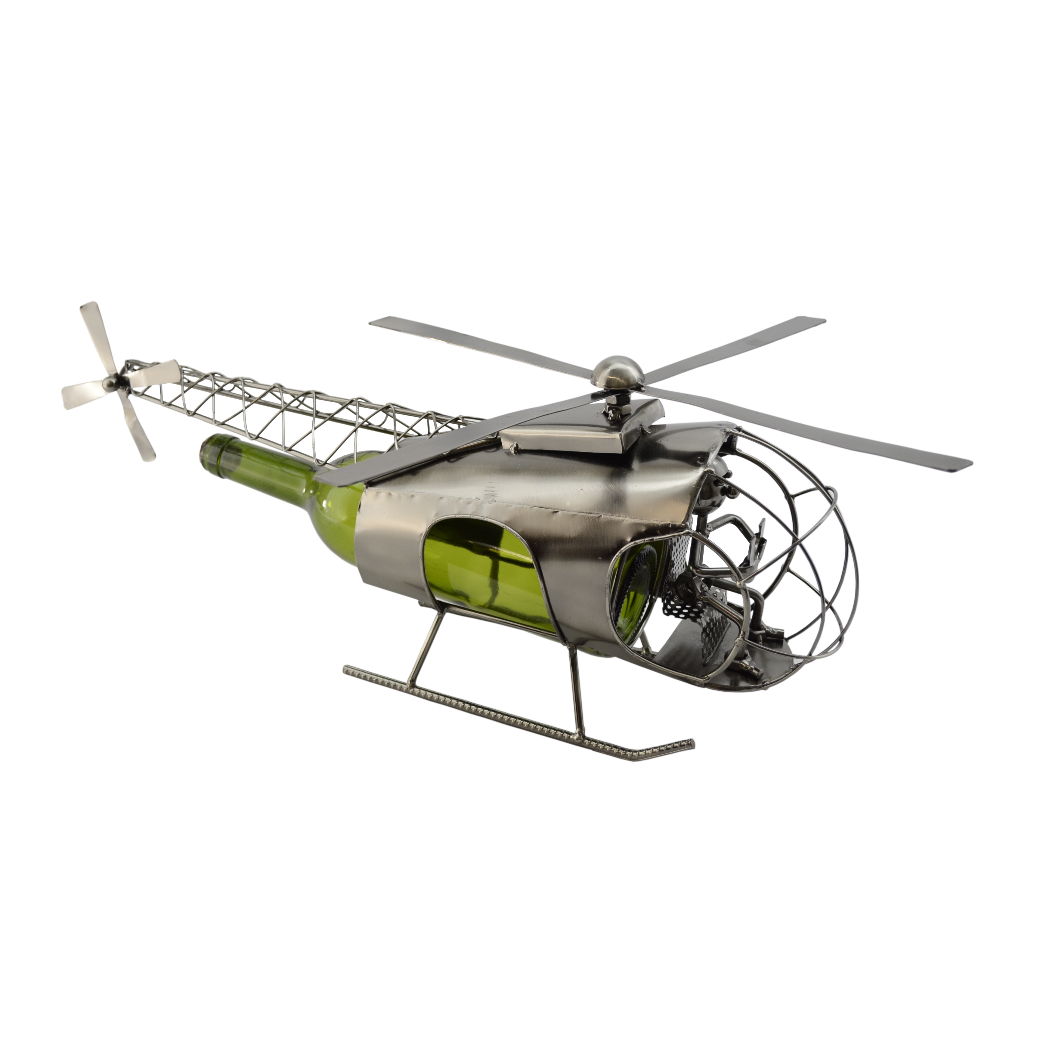 Three Star WineBodies Helicopter Metal Wine Bottle Holder...