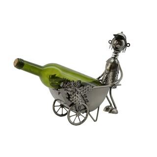 WineBodies Man with Wheel Barrel Metal Wine Bottle Holder