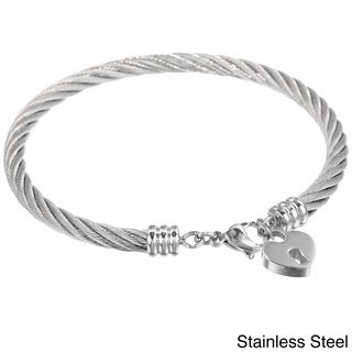 Link to Stainless Steel Lock Heart Charm Bangle Bracelet Similar Items in Bracelets
