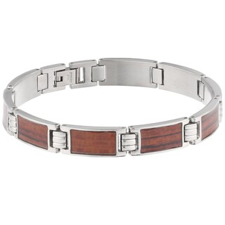 Stainless Steel Wood Accent Bracelet