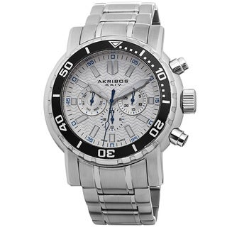 Akribos XXIV Men's Embossed Dial Multifunction Stainless Steel White Bracelet Watch