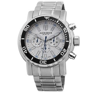 Akribos XXIV Men's Embossed Dial Multifunction Stainless Steel White Bracelet Watch with FREE GIFT