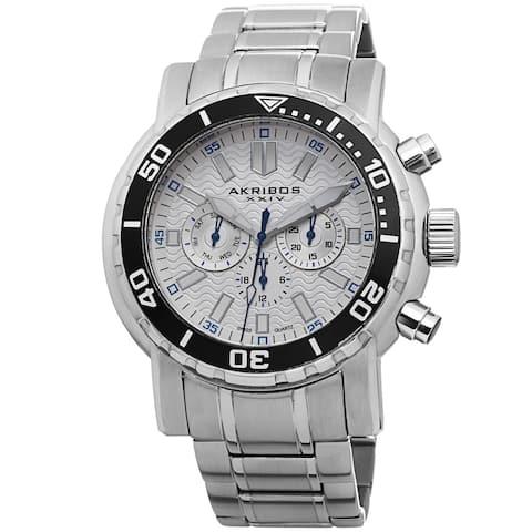 Akribos XXIV Men's Embossed Dial Multifunction Stainless Steel White Bracelet Watch