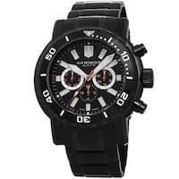 Akribos XXIV Men's Embossed Dial Multifunction Stainless Steel Black Bracelet Watch