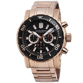 Akribos XXIV Men's Embossed Dial Multifunction Stainless Steel Rose-Tone Bracelet Watch